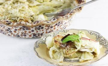 Ziemniaki au gratin z fenkułem