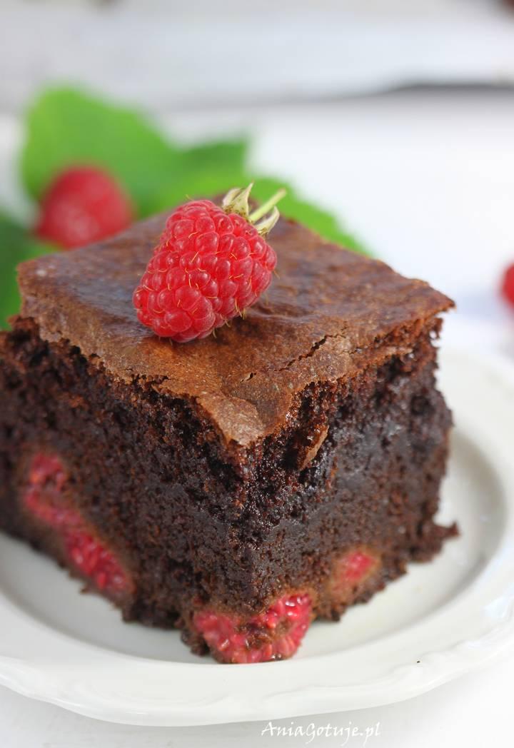Brownie z malinami, 1